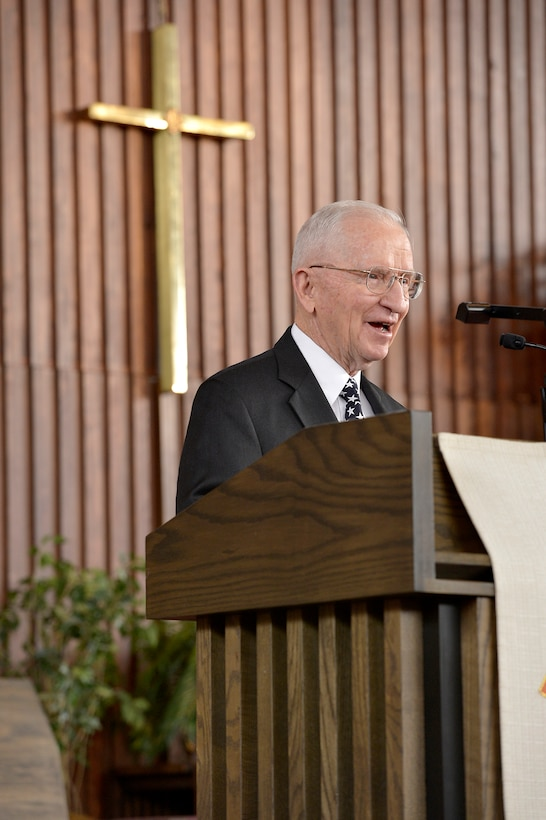 "Ross Perot speaks at the internment ceremony for Brig. Gen. Robinson ""Robbie"" Risner Jan. 23, 2014, at the Memorial chapel on Fort Myer, Arlington, Va., before being laid to rest at Arlington National Cemetery. Risner was one of the most celebrated pilots in Air Force history and survived seven and a half years of captivity in Hoa Lo Prison, also known as the Hanoi Hilton. (U.S. Air Force photo/Michael J. Pausic)"