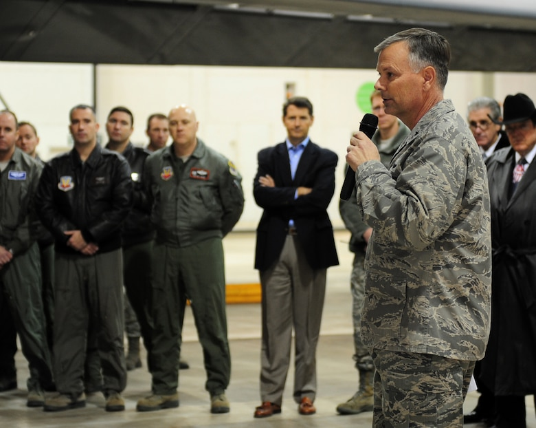 U.S. Air Force Brig. Gen. Glen VanVerck, 7th Bomb Wing commander, speaks during the B-1 Integrated Battle Station ceremony Jan. 24, 2014 at Dyess Air Force Base, Texas. The IBS is a combination of three different upgrades which include a Fully Integrated Data Link, a Vertical Situation Display Upgrade and a Central Integrated System Upgrade. These upgrades will enable the B-1 to grow and keep pace with newer platforms that the aircraft will be working with. (U.S. Air Force photo by Senior Airman Kia Atkins/Released)