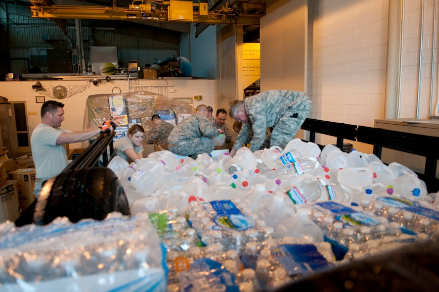 Airmen from the 167th Airlift Wing helped transport more than 60,000 pounds of donated supplies to Charleston, W.Va. for the 300,000 people left without drinking water in southern West Virginia. (Air National Guard photo by 2nd Lt. Stacy Gault)