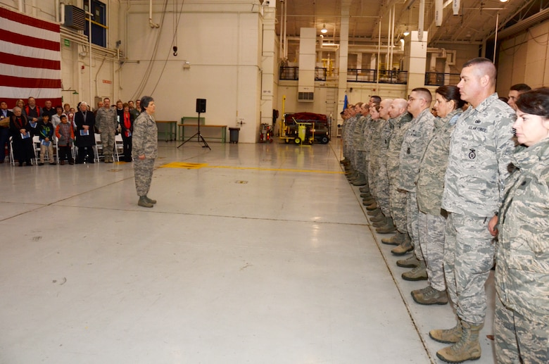 Members of the 145th Airlift Wing wait for orders from newly appointed commander, U.S. Air Force Col. Barbara Doncaster, after she assumed command of the 145th Mission Support Group during a Change of Command ceremony held at the North Carolina Air National Guard base, Charlotte-Douglas Intl. airport, Jan. 11, 2014. (U.S. National Guard photo by Master Sgt. Patricia F. Moran/Released)