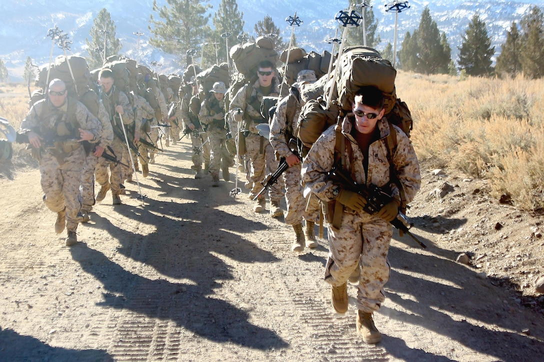 Capt. David Kucirka, the intelligence officer for 2nd Battalion, 2nd Marine Regiment, 2nd Marine Division, leads a group of Marines during a hike at the Marine Corps Mountain Warfare Training Center in Bridgeport, Calif. To gain an expeditionary mindset the Marines and Sailors of 2nd Battalion, 2nd Marines and Ragnarok Co., 2nd Marine Logistics Company, conducted a 10-day field exercise, which consisted of long range day and night foot movement through extremely rugged terrain with drastic elevation changes and tested the Marines' endurance.