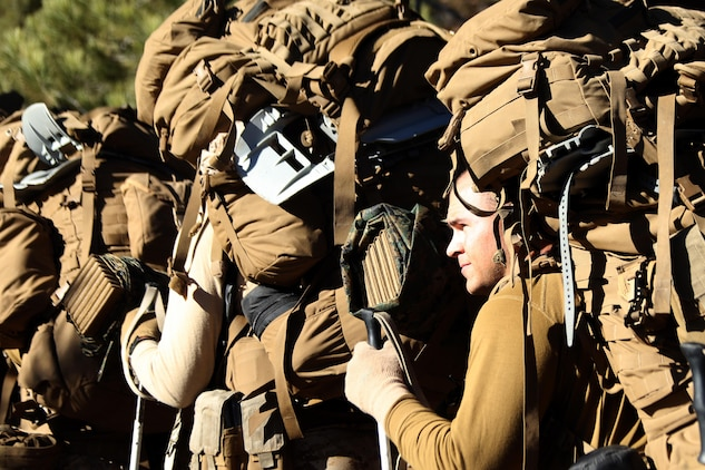Marine Corps Mountain Warfare Training Center, Bridgeport, Calif. – A Marine with 2nd Battalion, 2nd Marine Regiment, 2nd Marine Division, waits to ascend the first of many hills during a grueling hike, with 90 pound packs, at the Marine Corps Mountain Warfare Training Center in Bridgeport, Calif. To gain an expeditionary mindset the Marines and Sailors of 2nd Battalion, 2nd Marines and Ragnarok Co., 2nd Marine Logistics Company, conducted a 10-day field exercise, which consisted of long range day and night foot movement through extremely rugged terrain with drastic elevation changes and tested the Marines' endurance.