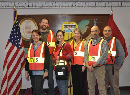 The all volunteer team of first responders is what makes the Buffalo District's Incident Command System, effective during a crisis situation, January 22, 2014. Photo ID: left-right: Lesta Ammons, Mikhail Boutsko, Michelle Barker, Diane Kozlowski, Martin Crosson, Philip Stitzinger, not all team members were available for the team photo. Photo by Andrew Kornacki, USACE Buffalo District.