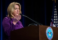 Deborah Lee James, the 23rd secretary of the Air Force, gives her remarks after being ceremoniously sworn in by Defense Secretary Chuck Hagel during a ceremony in the Pentagon, Washington, D.C., Jan. 24, 2014. James pledged to leave the Air Force some years from now on a path toward greater capability and better affordability. (U.S. Air Force photo/Jim Varhegyi)