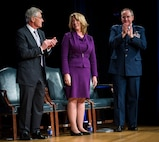 Deborah Lee James, center, the 23rd secretary of the Air Force, is congratulated by Defense Secretary Chuck Hagel, left, and Air Force Chief of Staff Gen. Mark A. Welsh III after she was ceremoniously sworn in by Hagel during a ceremony in the Pentagon, Washington, D.C., Jan. 24, 2014. James pledged to leave the Air Force some years from now on a path toward greater capability and better affordability. (U.S. Air Force photo/Jim Varhegyi)