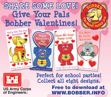 Share some love by giving your pals some Valentines Day cards from Bobber and his friends. Perfect for school parties--collect all eight designs with these free downloads!