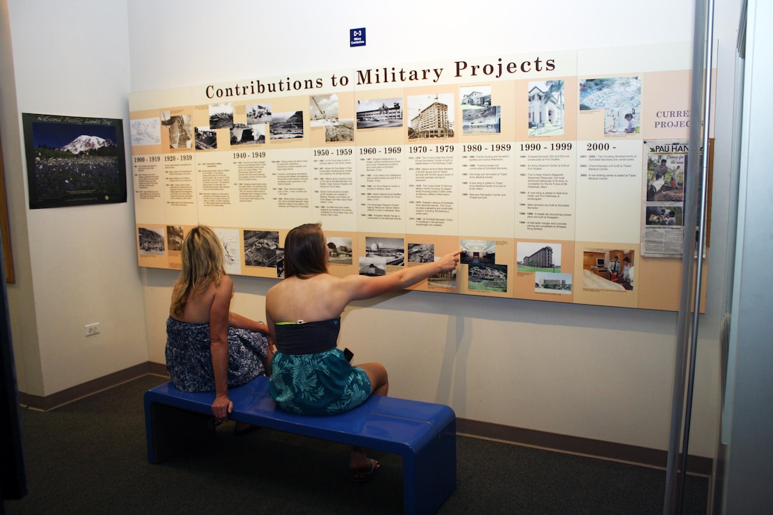 Guests check out one of the storyboards inside the RVC on Founding Father's Day 2013.