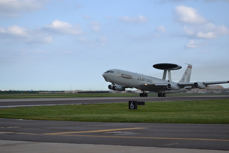 "An E-3 ""Sentry"" Airborne Warning and Control System aircraft lifts off of Tinker's north/south runway en route to a recent mission. (Air Force photo by Darren D. Huesel)"