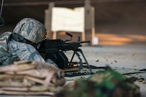 U.S. Air Force Airman 1st Class Nathaniel Northington, 23d Security Forces Squadron team member, fires an M249 light machine gun at Moody Air Force Base, Ga., Jan. 22, 2014. The M249 light machine gun has a sustained fire rate of 100 rounds per minute and a 700 meter point target effective firing range. (U.S. Air Force photo by Airman 1st Class Ryan Callaghan/Released)