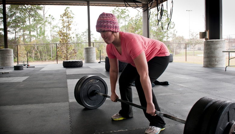 Randi Irby, a competitor at the King and Queen of the Gym, performs a deadlift at Hurlburt Field, Fla., Jan. 24, 2014. Irby earned the Princess of the Gym title for January. (U.S. Air Force photo/Senior Airman Krystal M. Garrett)