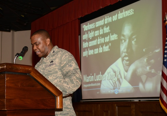 U.S. Air Force Col. Earl Scott, 100th Maintenance Group commander, speaks at the annual Martin Luther King Jr. remembrance breakfast Jan. 16, 2014, at the Galaxy Club on RAF Mildenhall, England. Scott addressed King's efforts during the U.S. civil rights movement and how King helped secure freedoms for African-Americans. He discussed how King, a role-model, also embodied the Air Force Core Values —Integrity First, Service Before Self and Excellence in All We Do. (U.S. Air Force photo by Airman 1st Class Kyla Gifford/Released)