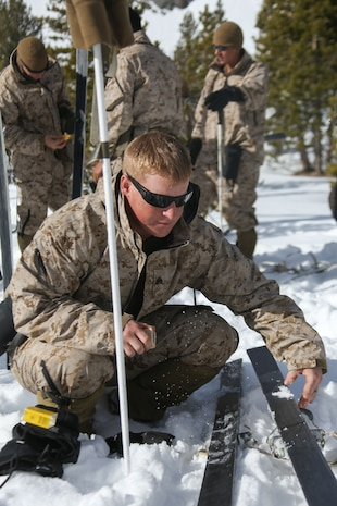Marine Corps Mountain Warfare Training Center, Bridgeport, Calif. – A Marine from 2nd Battalion, 2nd Marine Regiment, 2nd Marine Division, applies wax to his skis at the Marine Corps Mountain Warfare Training Center at Bridgeport, Calif. The Marines began their pre-environmental training and basic mobility training during a 10-day field exercise on January 18, 2014. During the training evolution the Marines will learn skiing, snowshoeing, skijoring, limited cliff assault, endurance at elevation and long-range day and night movements. The Warlords and its attached units are undergoing training at MCMWTC to prepare for the upcoming bilateral NATO training exercise Cold Response, which will take place in March of 2014 in Norway.