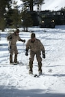 Marine Corps Mountain Warfare Training Center, Bridgeport, Calif. – Marines from 2nd Battalion, 2nd Marine Regiment, 2nd Marine Division, practice their skiing techniques at the Marine Corps Mountain Warfare Training Center at Bridgeport, Calif. The Marines began their pre-environmental training and basic mobility training during a 10-day field exercise on January 18, 2014. During the training evolution the Marines will learn skiing, snowshoeing, skijoring, limited cliff assault, endurance at elevation and long-range day and night movements. The Warlords and its attached units are undergoing training at MCMWTC to prepare for the upcoming bilateral NATO training exercise Cold Response, which will take place in March of 2014 in Norway.