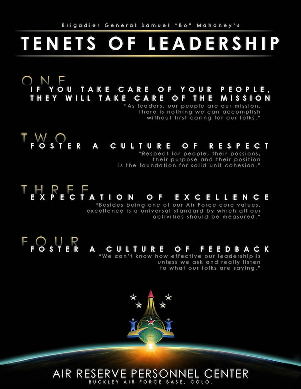 """Brig. Gen. Samuel """"Bo"""" Mahaney  ONE: If you take care of your people, they will take care of the mission """"As leaders, our people are our mission. There is nothing we can accomplish without first caring for our folks.""""  TWO: Foster a culture of respect """"Respect for people, their passions, their purpose and their position is the foundation for solid unit cohesion.""""  THREE: Expectation of excellence """"Besides being one of our Air Force core values, excellence is a universal standard by which all our activities should be measured.""""  FOUR: Foster a culture of feedback """"We can't know how effective our leadership is unless we ask and really listen to what our folks are saying."""""""
