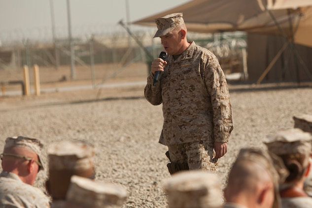 Lieutenant Col. Sidney R. Welch, commanding officer, Combat Logistics Battalion 7, addresses guests during a transfer of authority ceremony aboard Camp Leatherneck, Afghanistan, Jan. 26, 2014. The battalion replaced CLB-6 as the logistics combat element for Regional Command (Southwest) and will provide logistical support to units operating in Helmand province.