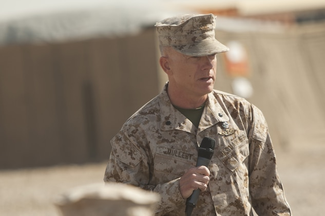 Lieutenant Col. Brian W. Mullery, commanding officer, Combat Logistics Battalion 6, gives a farewell speech during a transfer of authority ceremony aboard Camp Leatherneck, Afghanistan, Jan. 26, 2014. The battalion was replaced by CLB-7 as the logistics combat element for Regional Command (Southwest) and will provide logistical support to units operating in Helmand province.