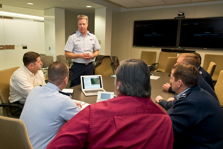 Air Force Lt. Col. Anthony D. Machabee, chief of safety of the 152nd Airlift Wing, Reno, Nev., briefs Air National Guard safety personnel on new innovative anti bird strike procedures Jan. 28, 2014, at the Air National Guard Readiness Center, Joint Base Andrews, Md.  (U.S. Air National Guard photo by Master Sgt. Marvin R. Preston/Released)