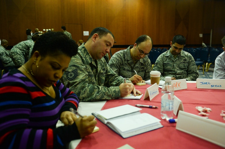 Members of Saber Nation write on sticky notes during the Caring for People Forum Jan. 29, 2014, at Spangdahlem Air Base, Germany. The forum addressed base wide-concerns held by community members. (U.S. Air Force photo by Senior Airman Rusty Frank/Released)
