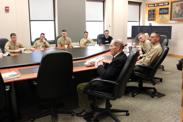 British Royal Marine Maj. Gen. (ret.) Julian Thompson talks with students at the Expeditionary Warfare School Jan. 23, 2014. The discussion concluded the students' study of the Falklands War and Thompson's role in it