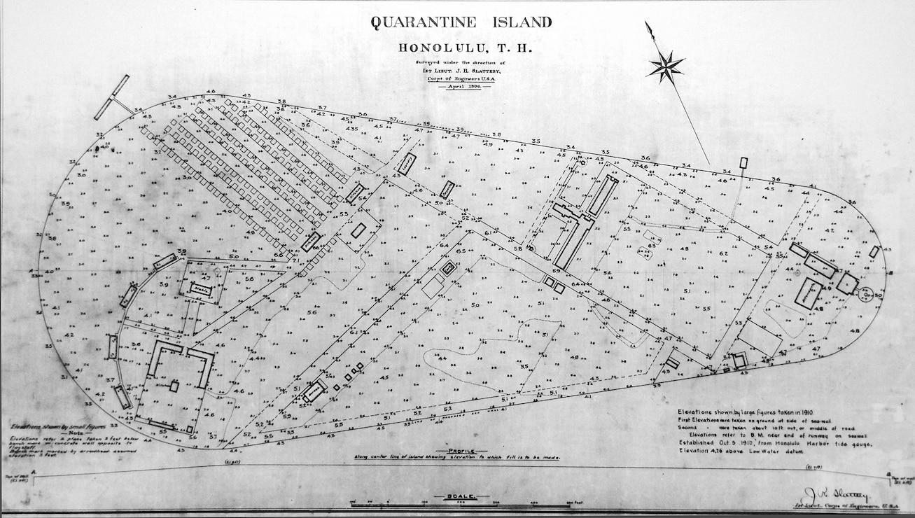 Quarantine Island (now Sand Island)layout blueprint created by Lt. John Slattery in April 1906.