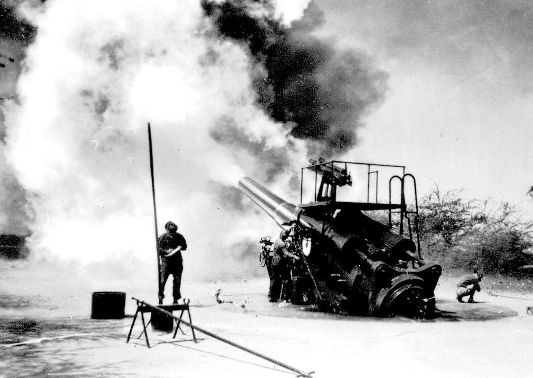 Battery Closson at Fort Kamehameha firing it's 12 inch gun in 1935.