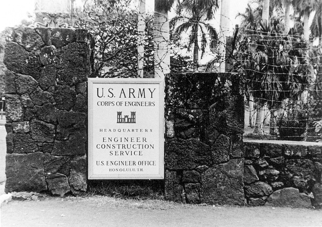 The sign for Engineer Construction Service HQ at Punahou School, Honolulu in 1943.