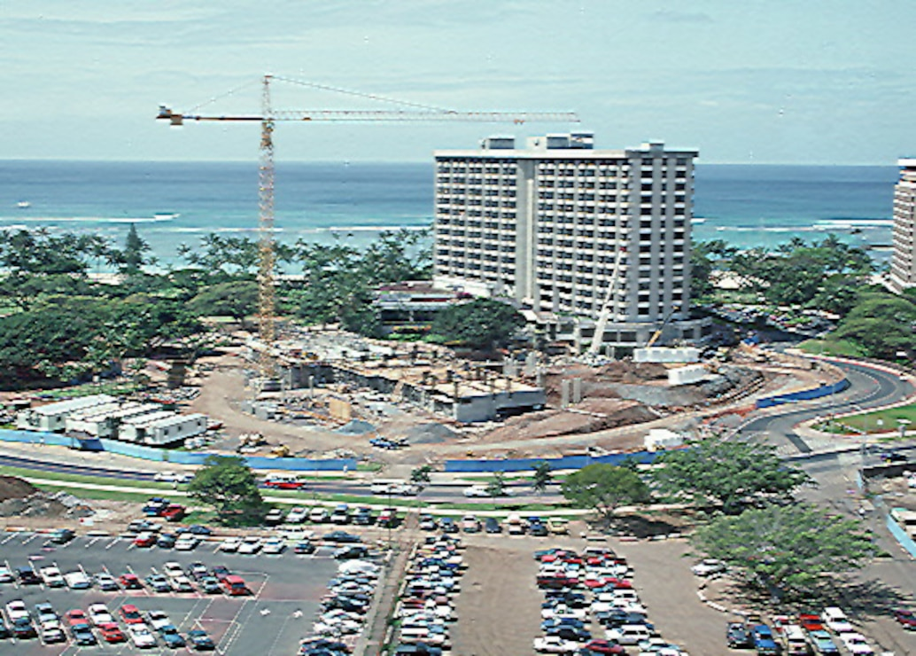 Original tower construction of the Hale Koa Hotel at Ft. DeRussy in 1974.