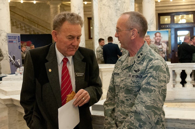 Idaho Legislature Representative Pete Nielsen, left, talks with Idaho National Guard Commanding General Maj. Gen. Gary Sayler, during the Military Division Legislative Day held at the State Capitol building in Boise, Idaho Jan. 15. (Air National Guard photo by Master Sgt. Becky Vanshur)