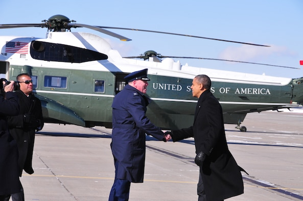 The President of the United States, Barack Obama, landed at the 171st Air Refueling Wing, Coraopolis, PA., in Air Force One at approximately 12:15p.m. January 29, 2014. Obama briefly spoke with 171st Wing Commander Colonel Ted E. Metgar  before boarding Marine one to travel to the U.S. Steel plant in West Mifflin, near Pittsburgh, to deliver a speech as part of a two-day tour used to promote his proposals given during the State of the Union address. (Air National Guard Photo by Master Sgt. Stacey Barkey/Released)