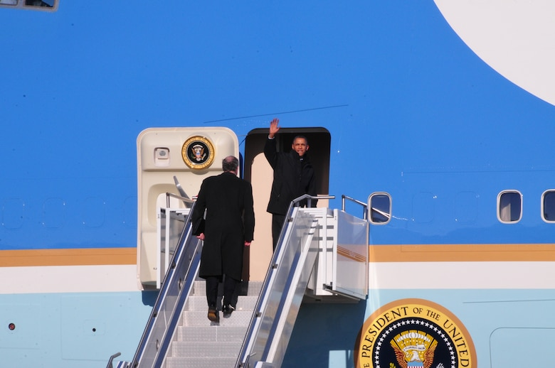 The President of the United States, Barack Obama, landed at the 171st Air Refueling Wing, Coraopolis, PA., in Air Force One at approximately 12:15p.m. January 29, 2014 before traveling to the U.S. Steel plant in West Mifflin, near Pittsburgh, to deliver a speech as part of a two-day tour used to promote his proposals given during the State of the Union address. (Air National Guard Photo by Master Sgt. Stacey Barkey/Released)