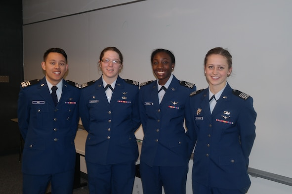Academy cadets are helping Colorado Springs officials improve passenger numbers at the Colorado Springs Airport. Pictured from left to right: Cadets 1st Class Anthony Riel, Helen Jantscher, Kassie Gurnell, and Hannah Peterson. (U.S. Air Force/Courtesy Photo)