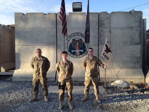 Leading the charge at the 73rd Expeditionary Air Control Squadron at Al Udeid Air Base in Qatar are Capt. Rachel Reynolds, center, Senior Master Sgt. Joseph Botelho, left, and Master Sgt. Albert Foley, all members of the 726th Air Control Squadron from Mountain Home AFB, Idaho. (Air Force photo)