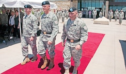 Col. Mike Morgan, 1st Inf. Div. chief of staff; Maj. Gen. Paul E. Funk II, commanding general, 1st Inf. Div. and Fort Riley; and Brig. Gen. Frank M. Muth, 1st Inf. Div. deputy commanding general for support, march during the Victory Retreat Ceremony June 13 at Fort Riley. The 1st Inf. Div. concluded celebrating its birthday by bidding Muth and Morgan farewell during a retreat ceremony at the 1st Inf. Div. headquarters.
