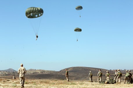 Marines and Sailors with Company C, 1st Reconnaissance Battalion, guide themselves toward their target landing zone during a static line jump from a CH-43E helicopter aboard Marine Corps Base Camp Pendleton, Calif., June 25, 2014. The company practiced both freefall and static line jumps from a CH-43 helicopter to better prepare for potential combat operations anywhere they are needed worldwide.