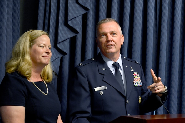 Col. Ricky Rupp, with his wife, Charlotte, speak after receiving the 2013 General and Mrs. Jerome F. O'Malley Award June 27, 2014, during a Pentagon ceremony.  Rupp, the special assistant to the commander at U.S./Republic of Korea Combined Forces Command at U.S. Army Garrison Yongsan.  The award was earned during the Rupps' time while leading the 22nd Air Refueling Wing at McConnell Air Force Base, Kan.  (U.S. Air Force photo/Scott M. Ash)