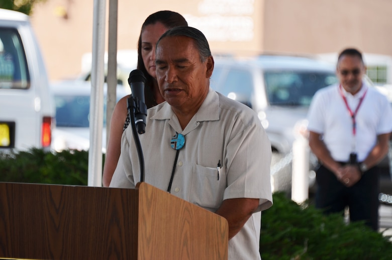ALBUQUERQUE, N.M., -- Tribal Councilman Matt Pecos, Pueblo de Cochiti, gives the invocation in Keres, the native language of the Pueblo, June 26, 2014.  This is the first Native American tribal invocation at a District change of command ceremony.