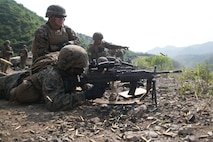 Lance Cpl. Stephen H. Rawls, bottom left, fires an M249 squad automatic weapon as Cpl. Christian Moreno oversees range safety June 19 during integrated live-fire training as part of Korean Marine Exchange Program 14-8 at the Susungri range in Pohang. ROK and U.S. Marines used various weapons systems during the training to enhance combined combat proficiency. KMEP 14-8 is one iteration in a series of continuous, combined training exercises that enhance the ROK-U.S. alliance, promote stability on the Korean Peninsula, and strengthen military capabilities and interoperability between South Korea and the U.S. Rawls is a Miami, Florida, native, and Moreno is a Norwalk, California, native. Both are military policemen with Company C, 3rd Law Enforcement Battalion, III Marine Expeditionary Force Headquarters Group, III MEF. (U.S. Marine Corps photo by Lance Cpl. Drew Tech/Released)
