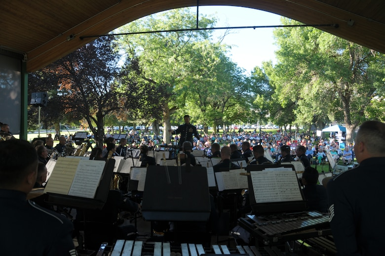 The Air National Guard Band of the West Coast performs at Bountiful City Park in Bountiful, Utah on June 30, 2014.  (U.S. Air National Guard photo by Airman 1st Class Madeleine Richards/Released)