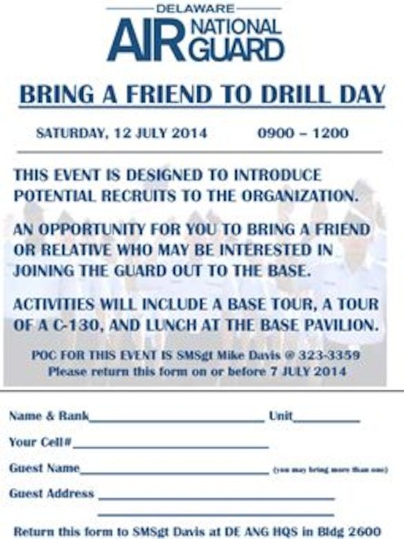 'Bring a Friend to Drill Day' July 12, 2014 flyer, Delaware Air National Guard