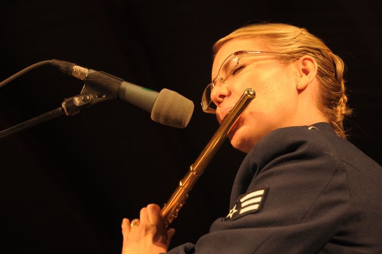 U.S. Air Force SRA Karmen Gould with the 562nd Air Force Band of the West Coast performs in Ojai, Calif., at the Libbey Bowl Amphitheater on June 25, 2014. (U.S. Air National Guard photos by Airman 1st Class Madeleine Richards/Released)