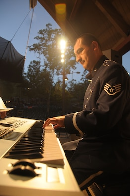 U.S. Air Force Staff Sgt. Jose Fausto with the 562nd Air Force Band of the West Coast performs in Ojai, Calif., at the Libbey Bowl Amphitheater on June 25, 2014. (U.S. Air National Guard photos by Airman 1st Class Madeleine Richards/Released)