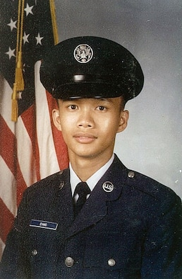 Teofilo Evans' first official photo in the Air Force during basic military training. Teofilo retired as a master sergeant in 2008. (Courtesy photo)
