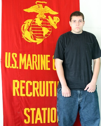 Steven Chaney of Barberton, Ohio, lost over 100 pounds in hopes of joining the United States Marine Corps. In just over a year, Chaney was able to achieve the feat with exercise, healthy eating and the mentorship of U.S. Marine Corps Sgt. David Belcher, a recruiter with Recruiting Sub-Station Akron. (U.S. Marine Corps hoto by Sgt. T.M. Stewman/Released)