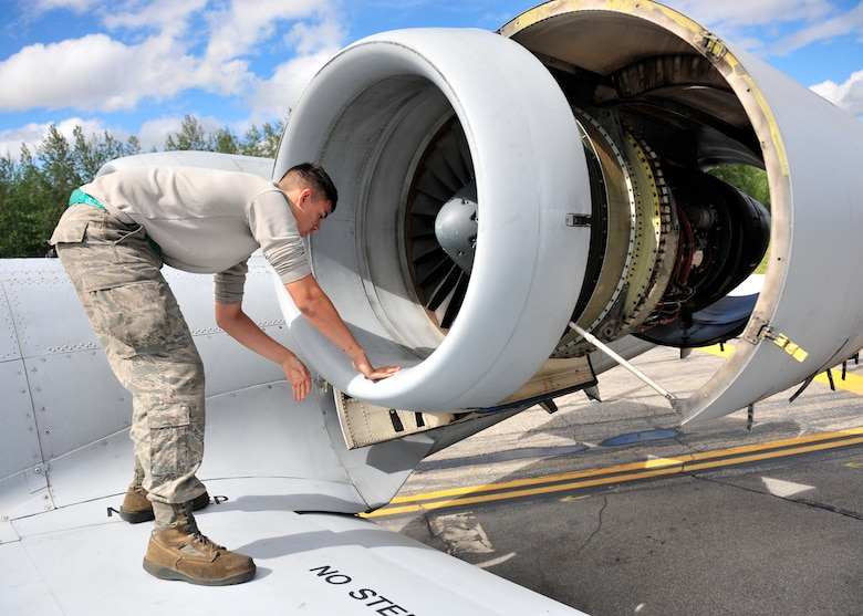 Airman 1st Class Vincent Hale checks for any cracks on an A-10 Thunderbolt II during Red Flag-Alaska 14-2 June 20, 2014, on Eielson Air Force Base, Alaska. When units deploy to the exercise, maintainers must perform all aircraft maintenance and operate as self-sufficient at Eielson AFB as they would in a wartime environment. Hale is a 51st Aircraft Maintenance Squadron aircraft maintainer assigned to Osan Air Base, South Korea. (U.S. Air Force photo/Senior Airman Ashley Nicole Taylor)