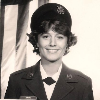 Air Force Basic Military Training School photo of Airman Basic Susan A. Romano, July 12, 1983, Lackland AFB, Texas. (U.S. Air Force photo)