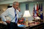 Defense Secretary Chuck Hagel calls goalkeeper Tim Howard of the U.S. Men's National soccer team July 2, 2014,  DoD photo by Casper Manlangit
