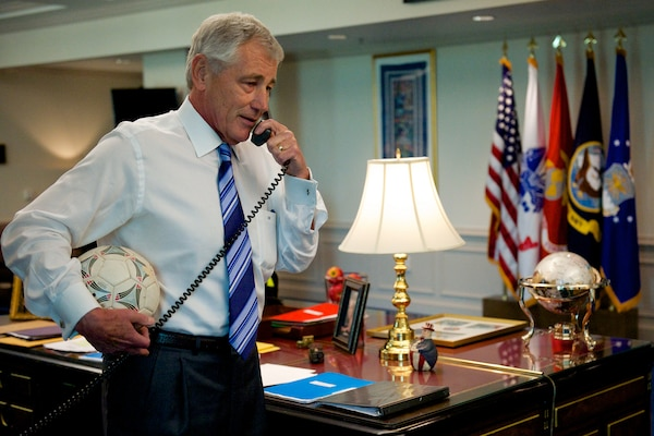 Defense Secretary Chuck Hagel calls goalkeeper Tim Howard of the U.S. Men's National soccer team July 2, 2014,  DoD photo by Casper Manlangit
