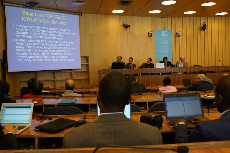 """Dr. Will Logan, Deputy Director, ICIWaRM, presenting on the center's activities associated with the G-WADI program at the IHP side-event on """"Data and Products to Address Water Challenges, 18 June 2014."""
