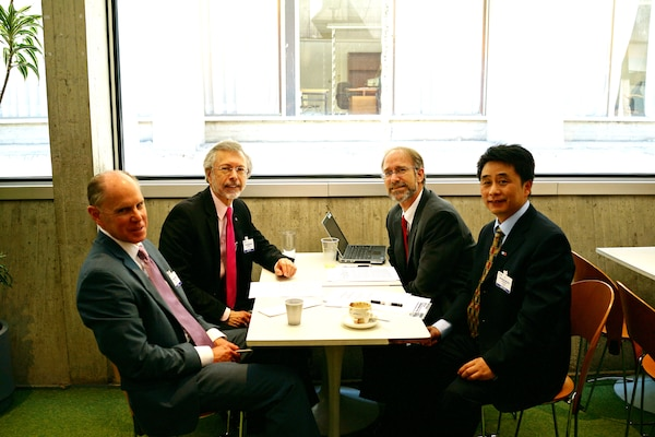 U.S. delegation members to the IHP IGC meet with the China's International Research & Training Center on Erosion and Sedimentation (IRTCES) (L-R): Dr. Jared D. Bales, USGS & Head of Delegation; IWR and ICIWaRM Director Bob Pietrowsky; Dr. Will Logan, Deputy Director, ICIWaRM; and Dr. Cheng Liu, Deputy Chief, Department of Research & Training, IRTCES, 19 June 2014.
