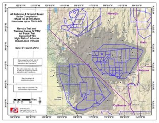 The High Risk of Adverse Impact Zone (HRAIZ) map depicts the Air Force area of interest for R-2508 and Nellis Test and Training Range (NTTR) operational areas. (U.S. Air Force courtesy graphic)
